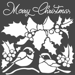 Stencil TD méret 18 x 18 cm / 0,5 mm - Merry Christmas