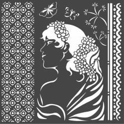Stencil TD méret 18 x 18 cm / 0,5 mm -Hölgy profil