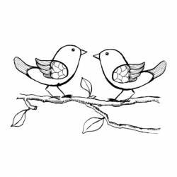 Akril pecsételő 7 x 11 cm - madarak faágon