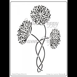 Fém stencil 14,5 x 11 cm, Gyönyörű virágok