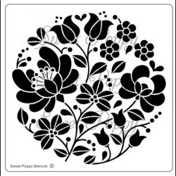 Fém stencil 12,5 x 12,5 cm, Népi motívum kör