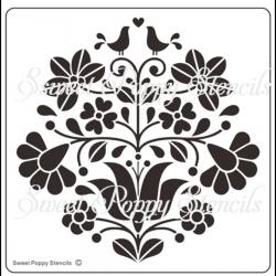Fém stencil 12,5 x 12,5 cm, Virágos szerelmes maradak