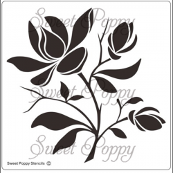 Fém stencil 12,5 x 12,5 cm, Magnolia
