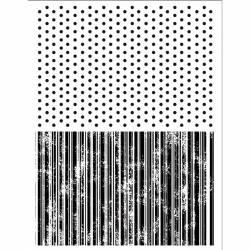 Akril pecsételő 14 x 18 cm - Texture with dots and stripes