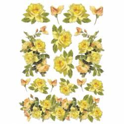 Dekupázs rizspapír A4 - Sárga rózsák
