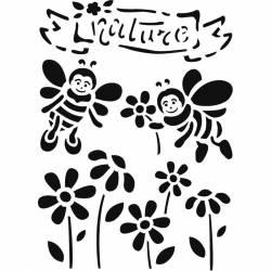 Stencil D méret 20x15 cm - gyerekek - természet
