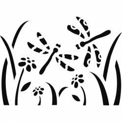 Stencil D méret 20x15 cm - gyerekek - virágok és szitakötők