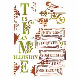 Stencil D méret cm. 20x15 Time is an Illusion