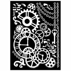 Stencil TD méret 20x25 cm/ 0,5 mm Steampunk
