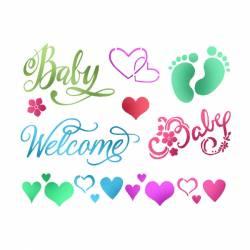 Stencil D méret 20x15 cm - Baby Welcome