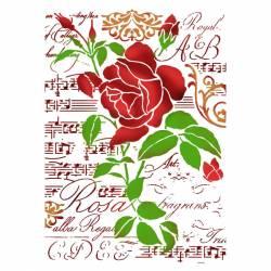 Stencil G méret 21 x 29,7 cm - Rózsa és kotta