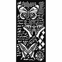 Stencil TD méret 12x25 cm/ 0,5 mm - Pillangók