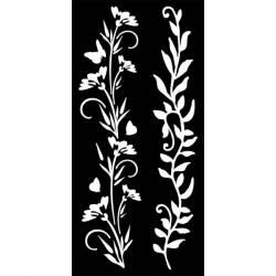 Stencil TD méret 12x25 cm/ 0,5 mm - Virágok és levelek kerettel