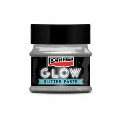 Glow glitter gél 50 ml ezüst